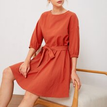 Drop Shoulder Self Belted Dress