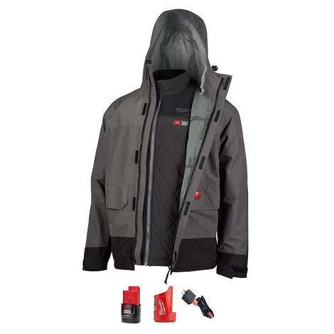 Milwaukee M12™ Heated Axis™ Layering System with Hydrobreak™ Rainshell Kit L (Gray)