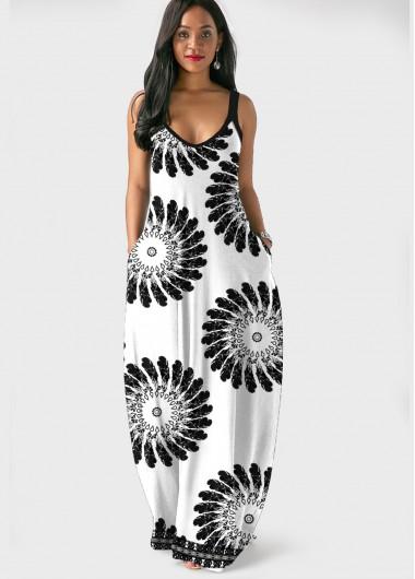 Cocktail Party Dress Spaghetti Strap Mandala Print Side Pocket Maxi Dress - XL