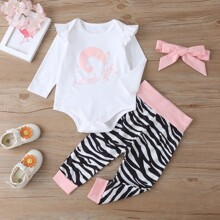 Baby Girl Letter Graphic Bodysuit & Zebra Stripe Pants & Headband