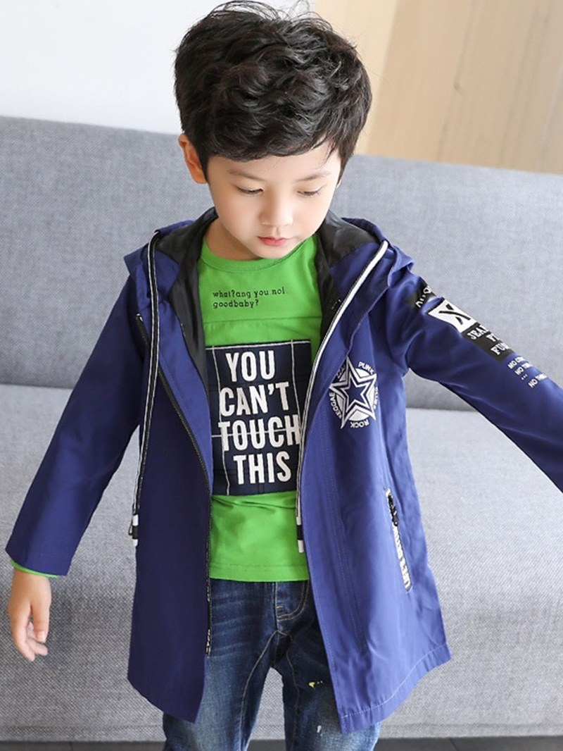 Ericdress Hooded Zipper Printed Mid-Length Boy's Casual Trench Coat