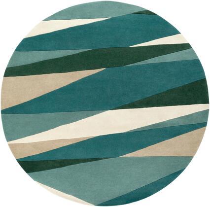 Forum FM-7204 6' Round Modern Rug in Sea Foam  Dark Green  Teal  Tan
