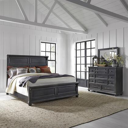 Liberty Furniture 879-BR-QPBDM 3 Piece Bedroom Set with Queen Size Panel Bed  Dresser and Mirror  in Chalkboard