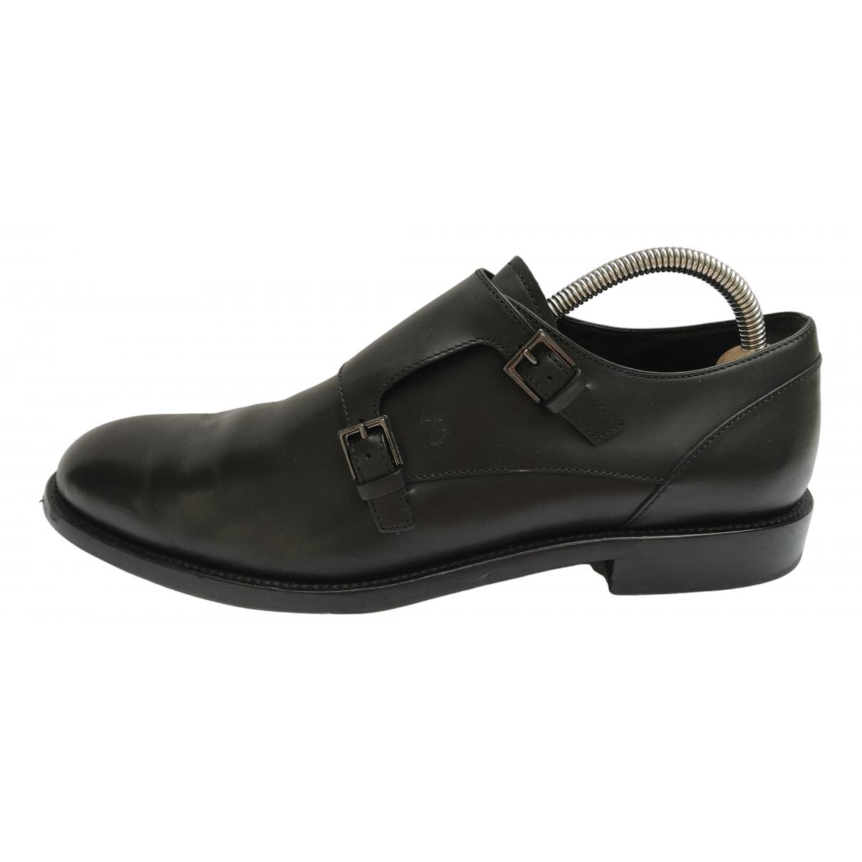 Tod's N Black Leather Flats for Men 9.5 UK