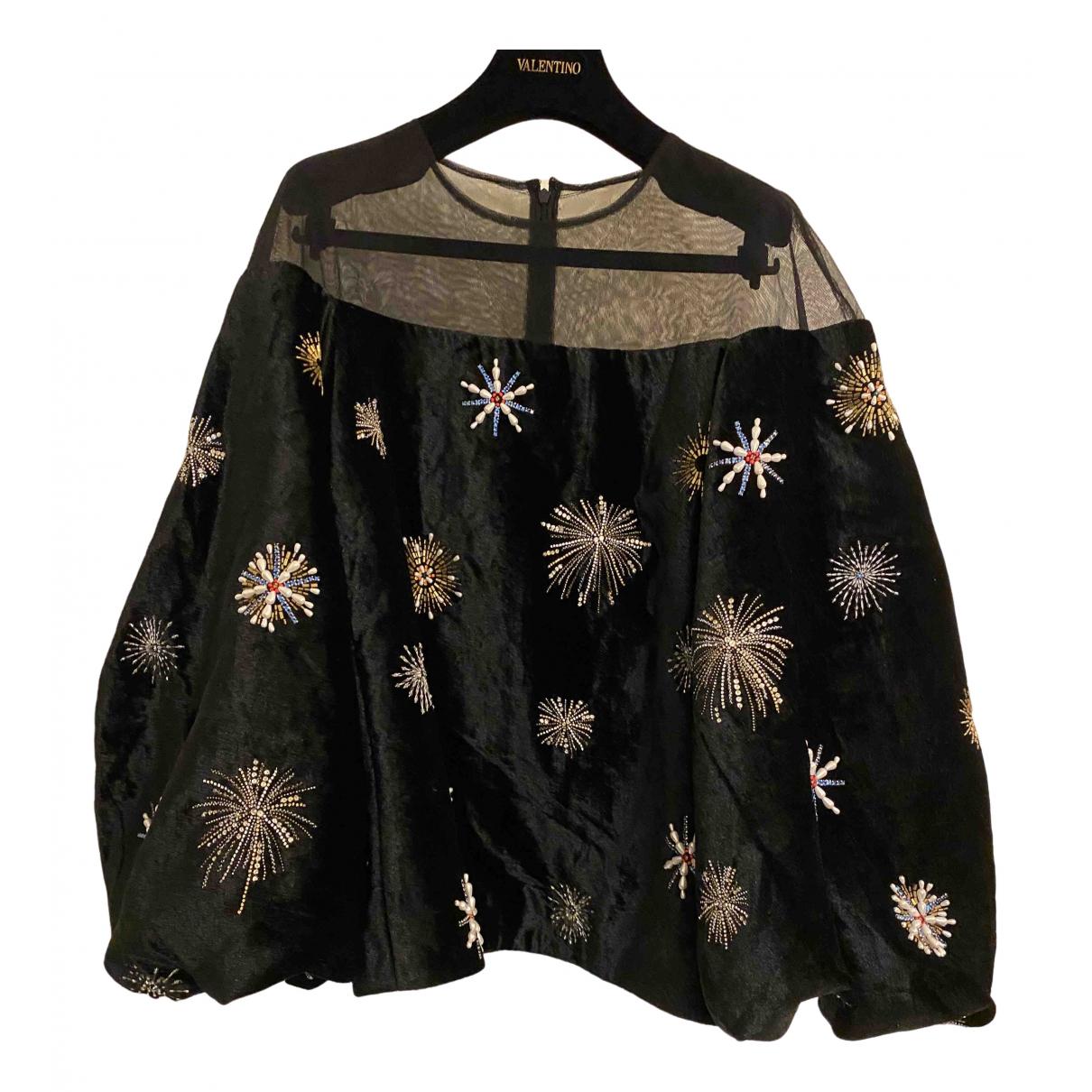 Osman London - Top   pour femme en velours - noir