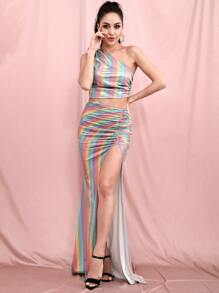 Rainbow Stripe Cutout Ruched Split Thigh Dress