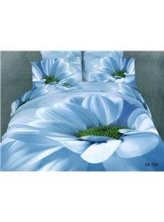 3D Blue Daisy And Flower Pistil Printed 5-Piece Comforter Sets
