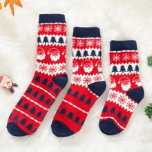 3 Paare Eltern-Kleinkind Kinder Socken mit Tannenbaum Muster