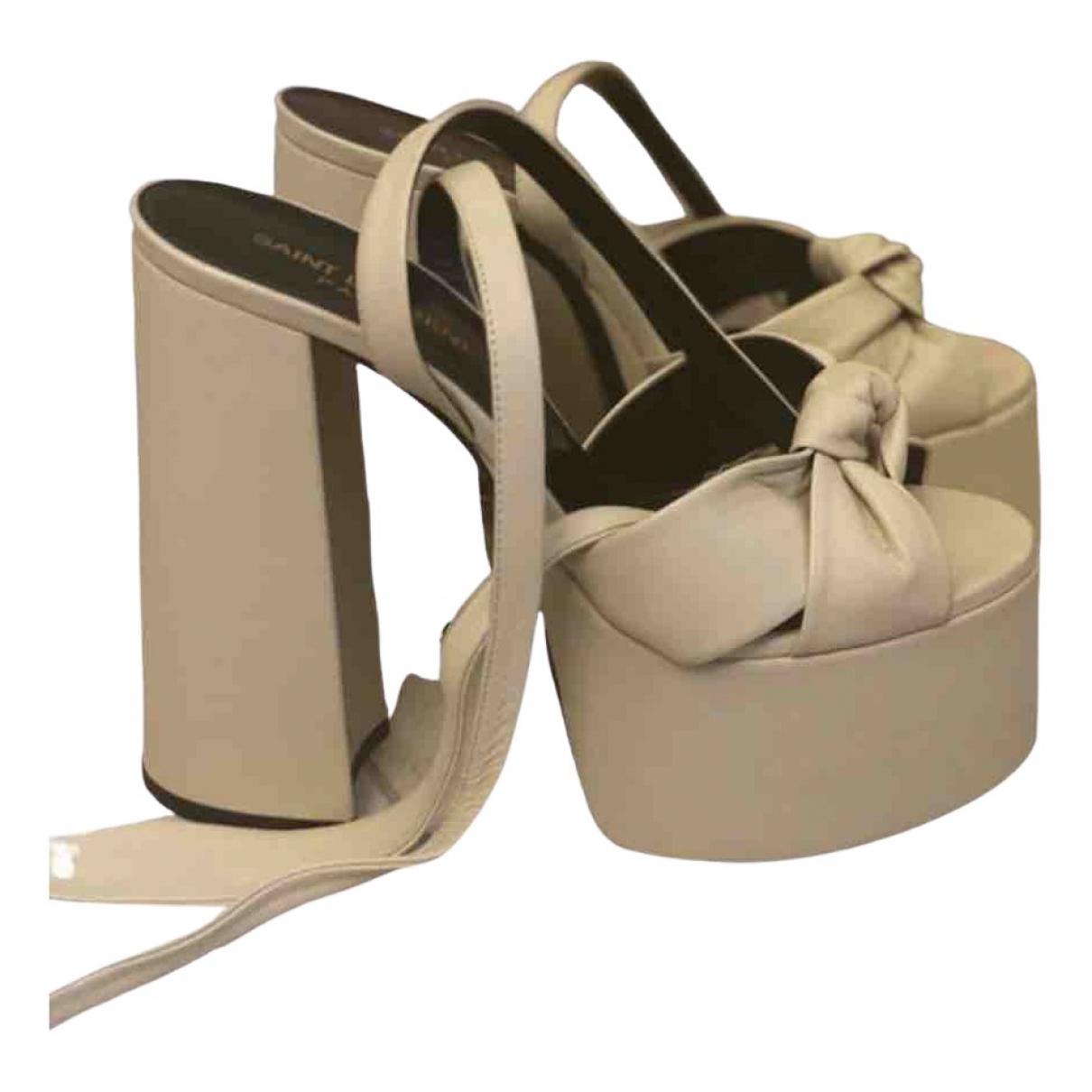 Saint Laurent \N Beige Leather Sandals for Women 37.5 EU