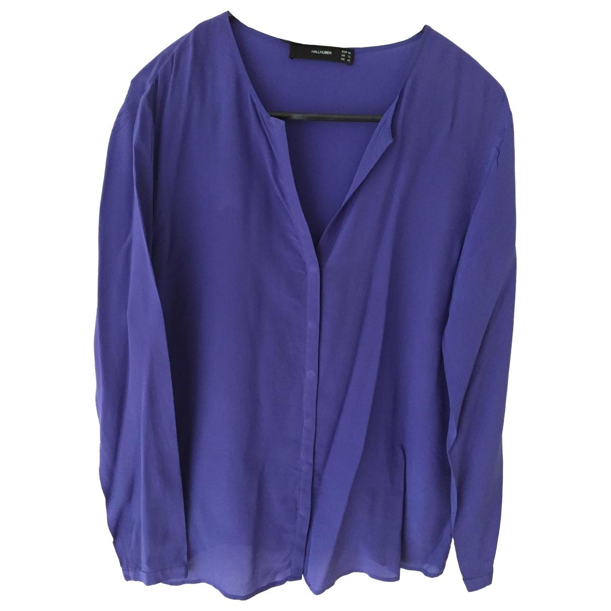 Hallhuber - Top   pour femme en soie - bleu