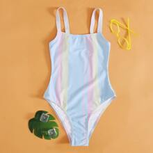 Girls Colorblock One Piece Swimsuit