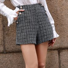 Shorts tweed con boton delantero