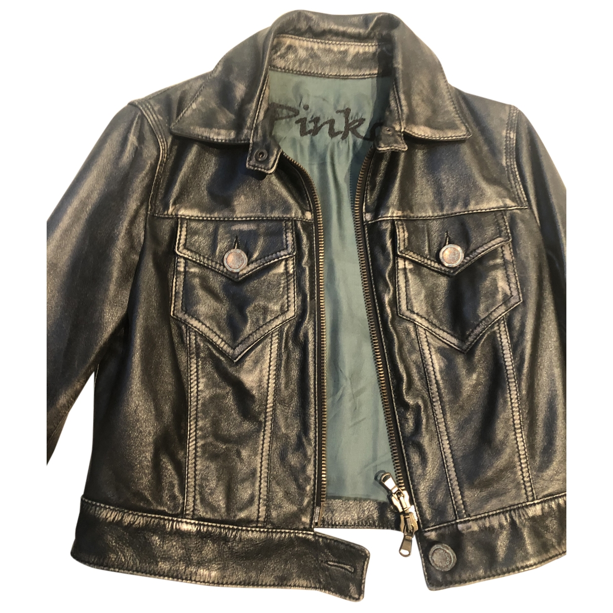 Pinko \N Black Leather Leather jacket for Women 44 FR