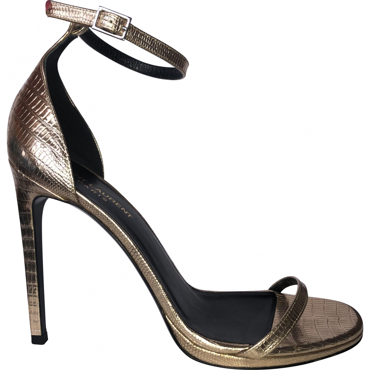 Saint Laurent \N Gold Leather Sandals for Women 39 EU