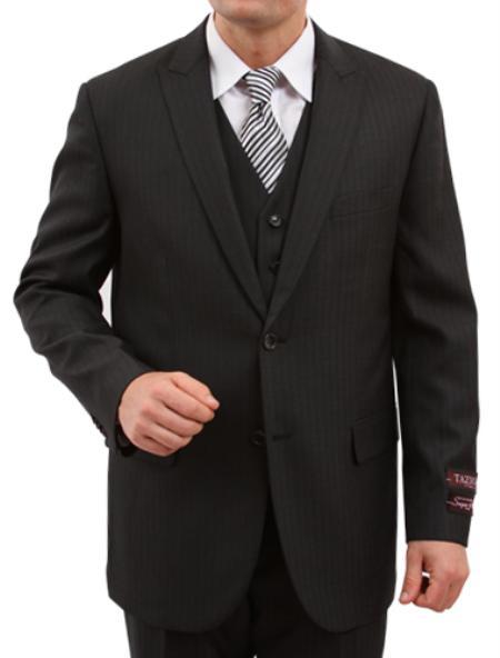 2 Button Solid Black Front Closure Fit Suit Mens Cheap