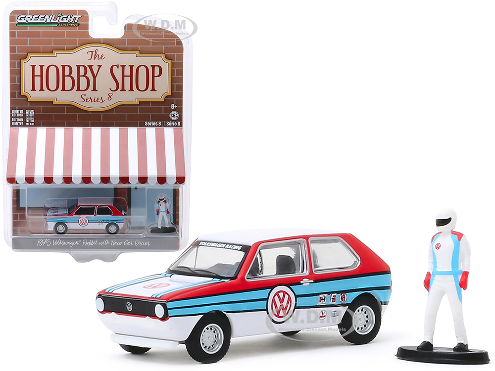 1975 Volkswagen Rabbit White with Stripes and Race Car Driver Figurine