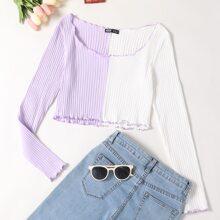 Camiseta ribete en forma de lechuga tejida de canale de color combinado