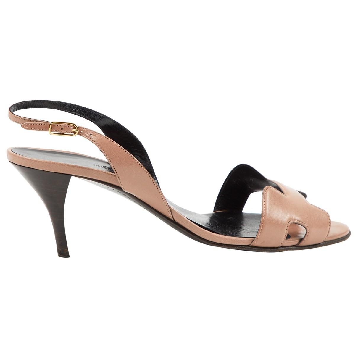 Hermes - Sandales Night pour femme en cuir - beige
