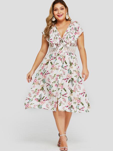Yoins Plus Size White Lace Knotted Floral Print Dress