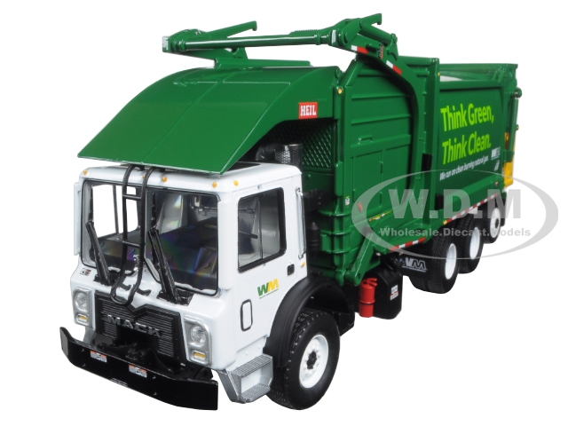Mack TerraPro Waste Management Garbage Truck with Heil Half Pack Freedom Front End Loader and CNG Tailgate with Trash Bin 1/34 Diecast Model by First