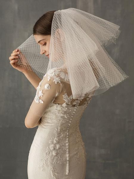 Milanoo Short Wedding Veil Ivory Mesh Two-Tier Cut Edge Oval Bridal Veils