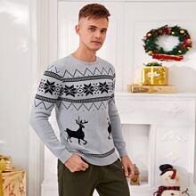 Men Fairisle Pattern Sweater