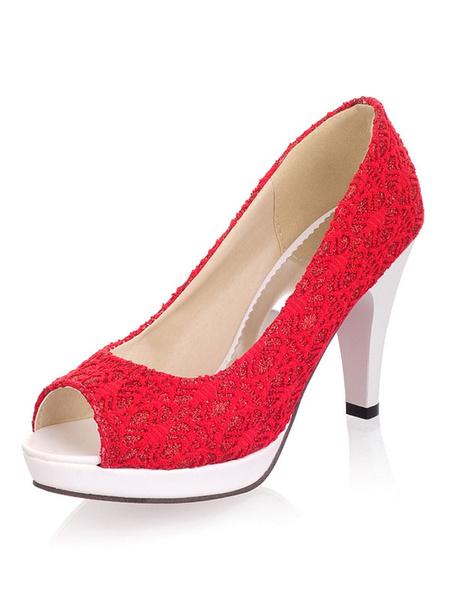 """Milanoo Peep Toe Tacones altos Plataforma Bombas Prism Heel 3.1 """"Crochet Zapatos de mujer"""