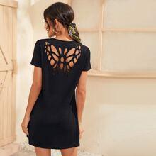 T-Shirt Kleid mit Schmetterling Muster und Ausschnitt hinten