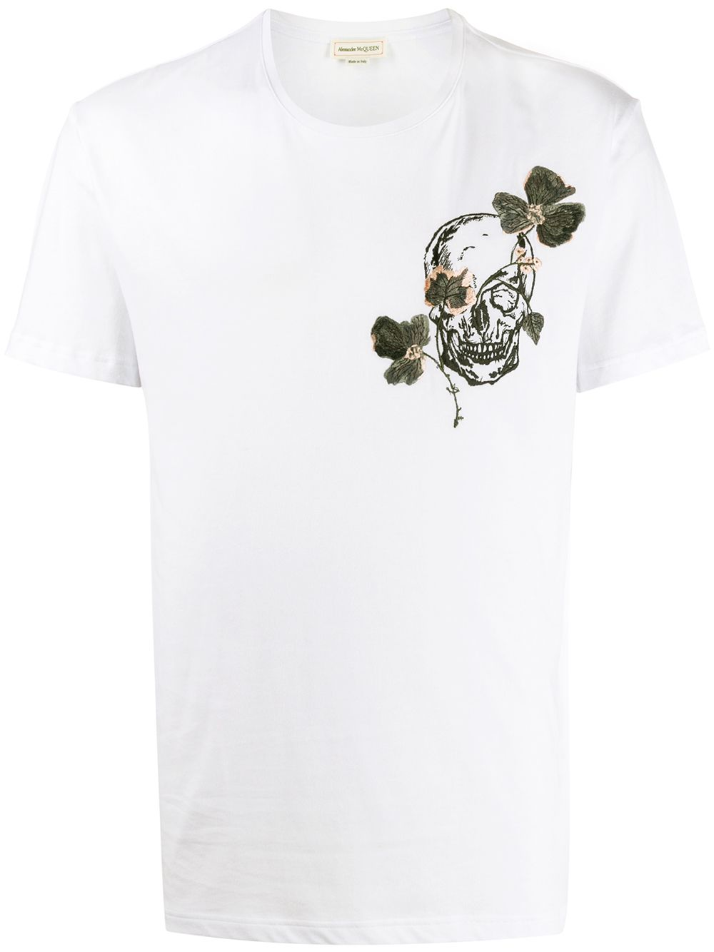 Skull And Flowers Print T-shirt