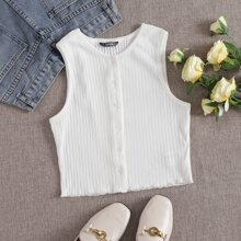 Ribbed Buttoned Lettuce-Edge Tank Top