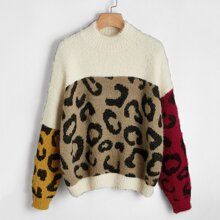 Drop Shoulder Leopard Colorblock Sweater