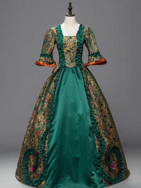 Milanoo Victorian Dress Costume Women's Green Baroque Costume Lace Ruffles Bell Half Sleeves Satin Jacquard Victoria Era Clothing Retro Costumes Hallo