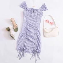 Gingham Drawstring Ruched Bodycon Dress