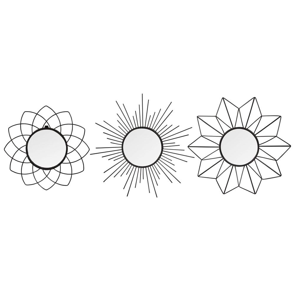 Set aus 3 runden Spiegeln mit Metallrahmen D.25