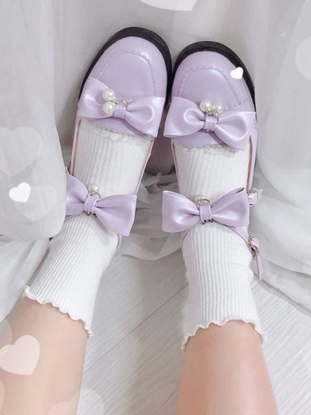 Milanoo Dulce Lolita Calzado Crudo Lazos Blancos Perlas Tacon Cachorro Bombas Lolita