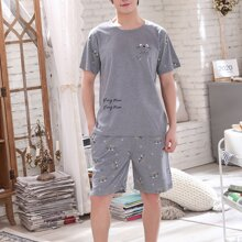 Men Cartoon & Letter Graphic PJ Set