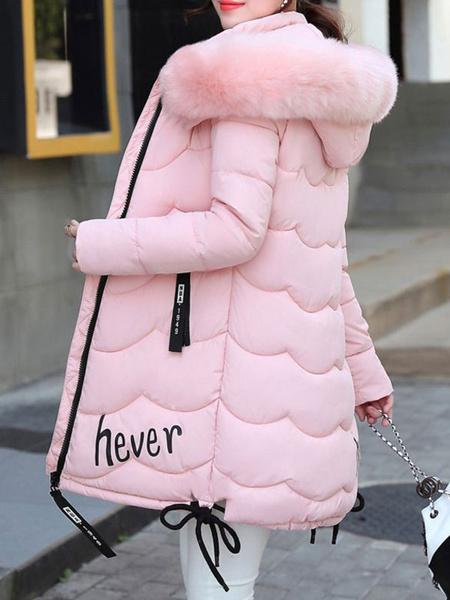Milanoo Women Puffer Coat Faux Fur Hooded Bubble Coat Quilted Winter Coat
