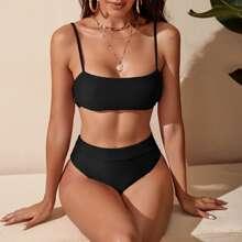 Schwarz Einfarbig Sexy Bikini Sets