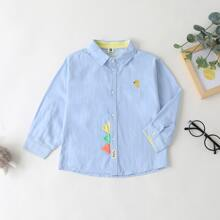 Toddler Boys Cartoon Embroidery Patched Shirt