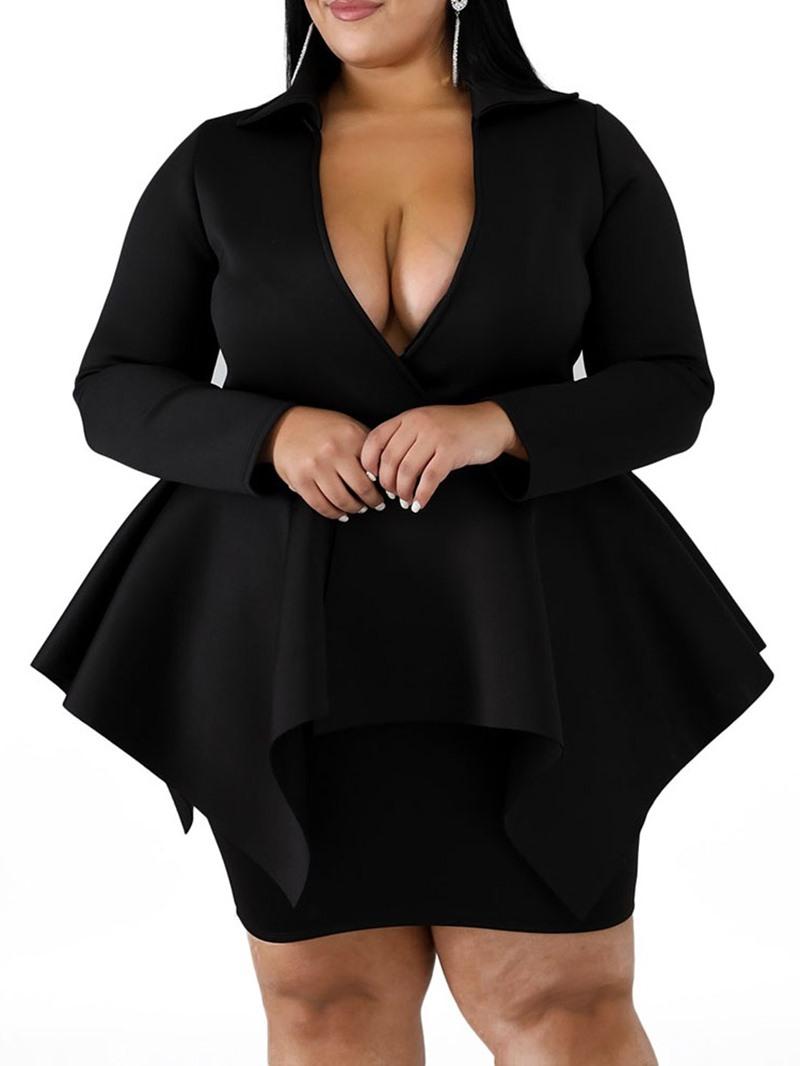 Ericdress Plus Size Long Sleeve Above Knee V-Neck Bodycon Mid Waist Dress