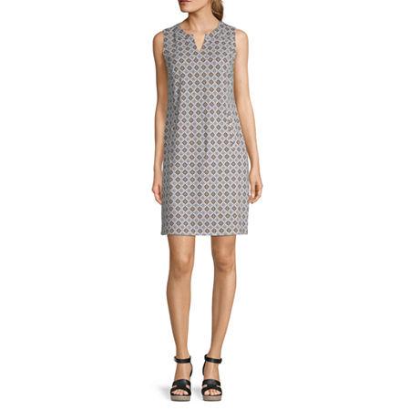 Liz Claiborne Sleeveless Shift Dress, Medium , Green