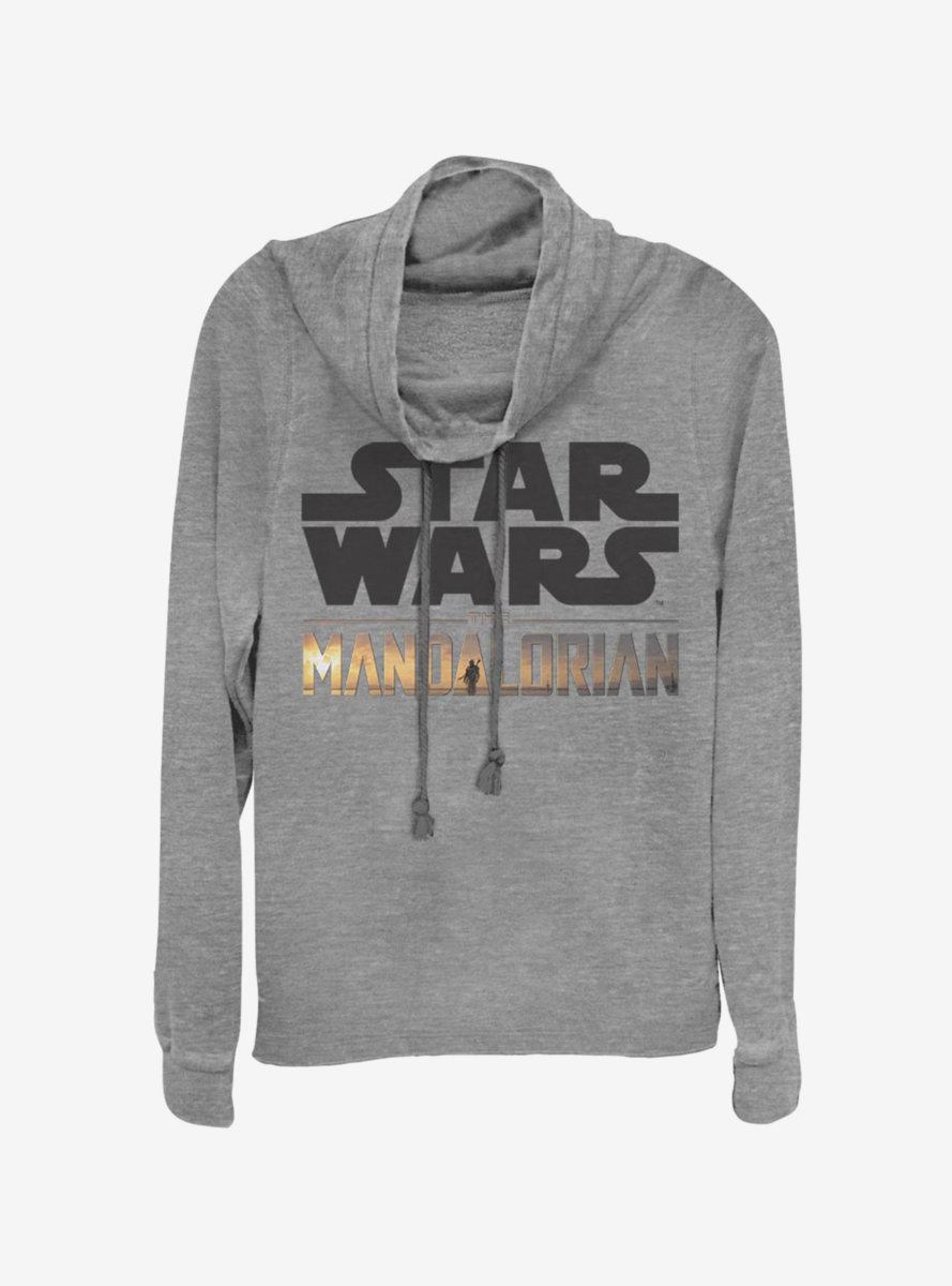 Star Wars The Mandalorian Stacked Logo Cowlneck Long-Sleeve Womens Top