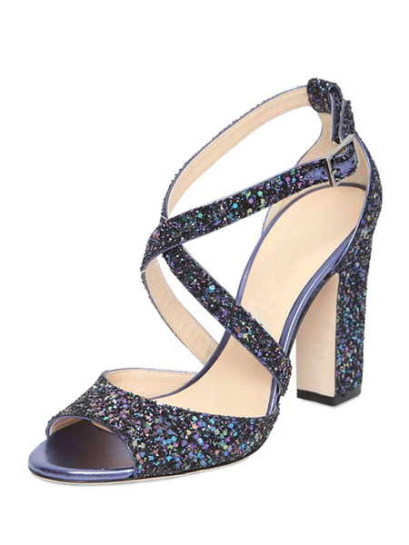 Milanoo Sparkly Prom Heels Criss-cross Peep Toe Chunky Heel Sandals Women Shoes