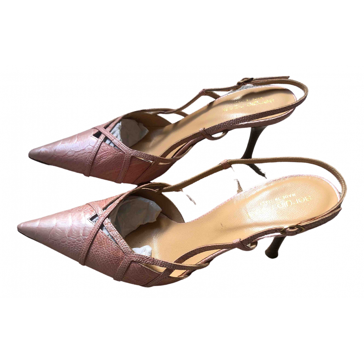 Sergio Rossi \N Pink Water snake Sandals for Women 38 EU