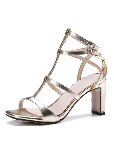 Milanoo Silver High Heels Women Open Toe T Type Strappy Sandal Shoes Gladiator Sandals