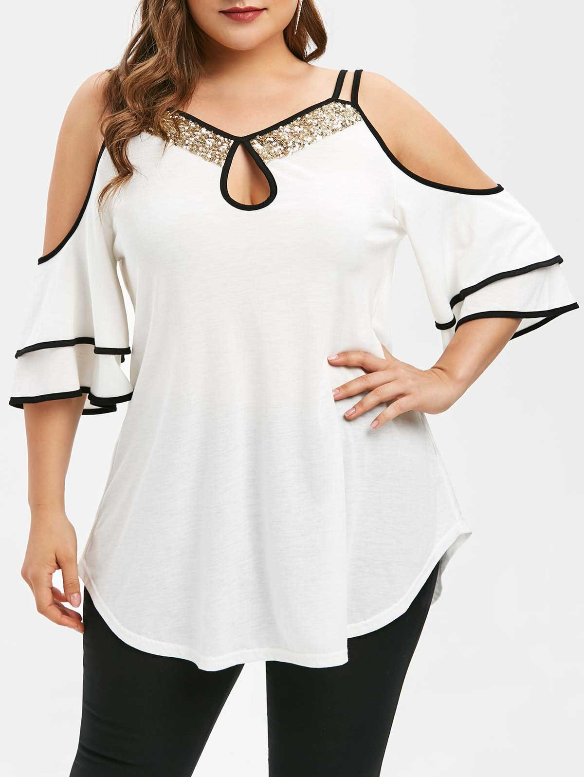 Plus Size Keyhole Open Shoulder Sequins T-shirt