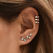 3pcs Rhinestone Leaf Design Stud Earrings