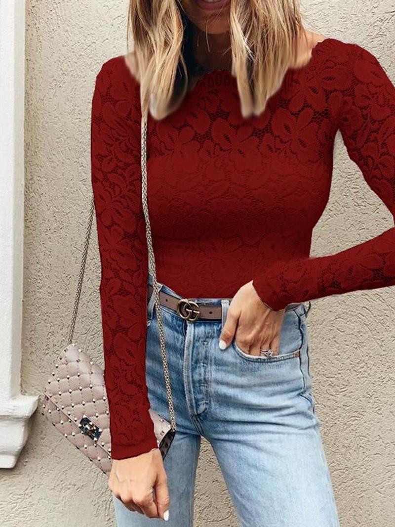 Ericdress Plain Lace See-Through Fashion Blouse