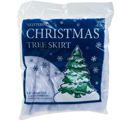 Christmas Tree Skirt Festive Holiday Design Color White with Glitter 58