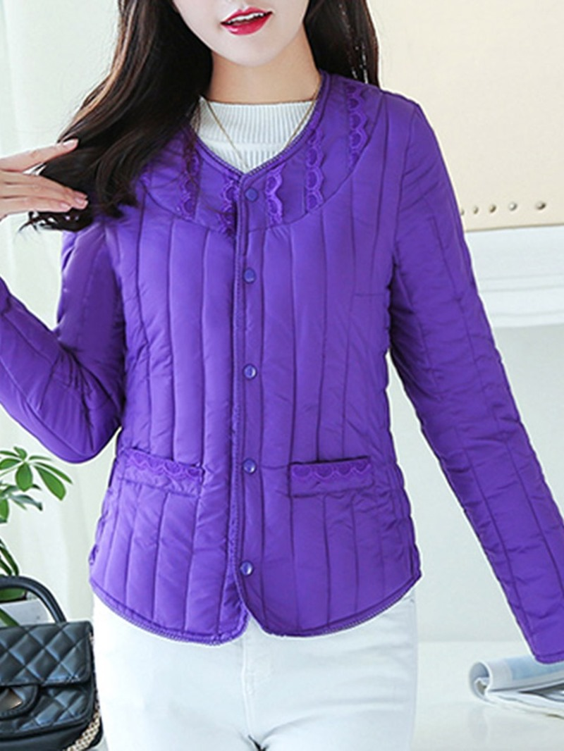Ericdress Button Slim Single-Breasted Standard Cotton Padded Jacket